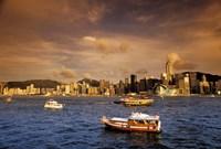 Boats in Victoria Harbor at Sunset, Hong Kong, China Fine Art Print