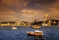 Boats in Victoria Harbor at Sunset, Hong Kong, China by Bill Bachmann - various sizes