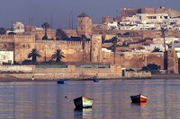 Fishing Boats with 17th century Kasbah des Oudaias, Morocco Fine Art Print