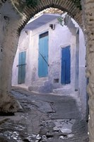 Blue Doors and Whitewashed Wall, Morocco Fine Art Print