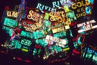 Double exposure, casino signs, Las Vegas, Nevada. Fine Art Print