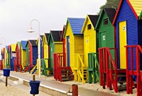 Colorful Changing Houses, False Bay Beach, St James, South Africa Fine Art Print