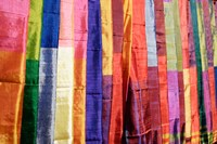 Colorful Silk Scarves at Edfu Market, Egypt Fine Art Print