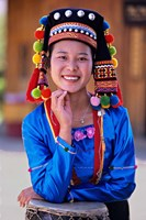 China, Yunnan, Young De'ang Woman portrait with Drum by Charles Crust - various sizes