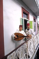 Band with Ladud Guitar on Balcony, Tangier, Morocco by Bill Bachmann - various sizes