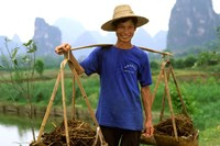 Colorful Portrait of Rice Farmer in Yangshou, China by Bill Bachmann - various sizes