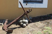 Africa, Mozambique, Maputo. Anchor and cannonballs at the Old Fort. Fine Art Print