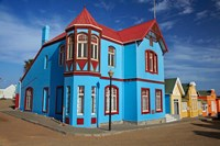Colorful German colonial architecture, Luderitz, Namibia by David Wall - various sizes