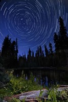 Star trails above Summit Lake in Lassen Volcanic National Park, California Fine Art Print