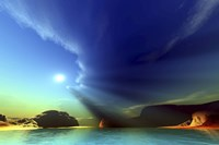 Rays from the sun shine down on this colorful seascape by Corey Ford - various sizes