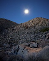Moonlight illuminates the rugged terrain of Bow Willow Canyon, California Fine Art Print