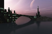 City Relection in Calm Waters of Another Galaxy Fine Art Print