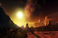 A large sun heats this alien planet which bakes in its glow by Corey Ford - various sizes