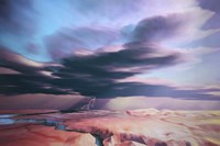 A swift moving thunderstorm moves over a desert landscape by Corey Ford - various sizes