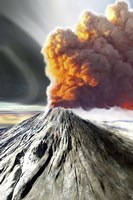 A volcano comes to life with billowing smoke Fine Art Print