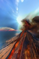 A volcano comes to life with smoke and lava Fine Art Print