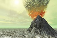 A volcano comes to life with smoke, ash and fire Fine Art Print
