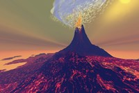 A volcano erupts with smoke, fire and lava Fine Art Print