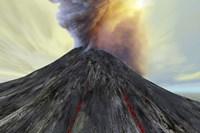 An active volcano belches smoke and ash into the sky by Corey Ford - various sizes, FulcrumGallery.com brand