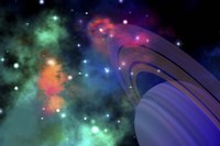 Colorful nebula near a ringed planet by Corey Ford - various sizes