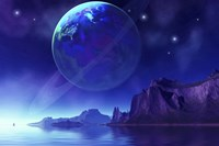 Cosmic seascape on another world with a ringed planet in the night sky by Corey Ford - various sizes