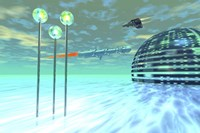 Life under domes on an alien waterworld by Corey Ford - various sizes