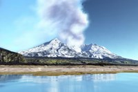 Mount Saint Helens simmers after the volcanic eruption Fine Art Print