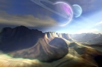 Mountainous landscape on a futuristic world with two beautiful moons by Corey Ford - various sizes