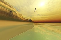 Seagulls fly near the mountains of this seascape by Corey Ford - various sizes