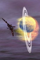 Solar winds hit a ringed planet with charged particles and gases by Corey Ford - various sizes