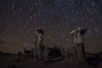 Star trails above sand tufa formations at Mono Lake, California Fine Art Print