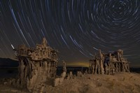 Star trails and intricate sand tufa formations at Mono Lake, California Fine Art Print