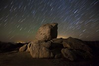 Star trails and large boulders Anza Borrego Desert State Park, California Fine Art Print
