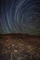 Star trails at an ancient petroglyph site near Bishop, California Fine Art Print