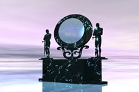 Statues stand near a dimensional portal to another universe by Corey Ford - various sizes