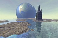 Terraforming the moon with water and buildings by Corey Ford - various sizes