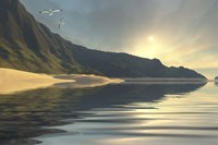 The sun sets on a beautiful mountainside and shoreline by Corey Ford - various sizes