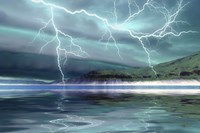 Thunderclouds and lightning move over the mountains and a nearby lake Fine Art Print