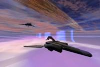 Two starships warp along space enegy fields Fine Art Print