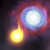 A binary star system Fine Art Print