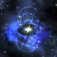 A brilliant star sends out magnetic waves out into surrounding space Fine Art Print