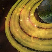 A golden ring system encircles this planet out in the galaxy by Corey Ford - various sizes