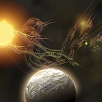 A huge sun radiates solar flares toward a nearby planet by Corey Ford - various sizes