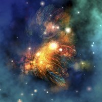 Cosmic image of a colorful nebula out in space by Corey Ford - various sizes