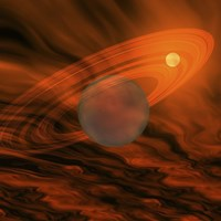 Cosmic image of a giant gaseous ringed planet by Corey Ford - various sizes