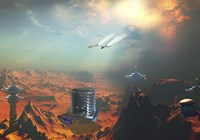 Two aircraft fly over an enemy base of operations by Corey Ford - various sizes