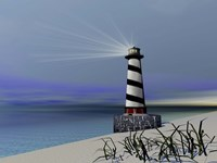 A lighthouse sends out a light to warn vessels by Corey Ford - various sizes