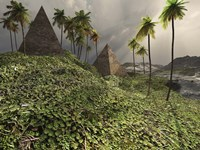 Two pyramids sit majestically among the surrounding jungle by Corey Ford - various sizes
