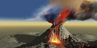 An active volcano belches smoke and molten red lava in an eruption by Corey Ford - various sizes