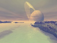 The landscape of Titan, one of Saturn's moons Fine Art Print